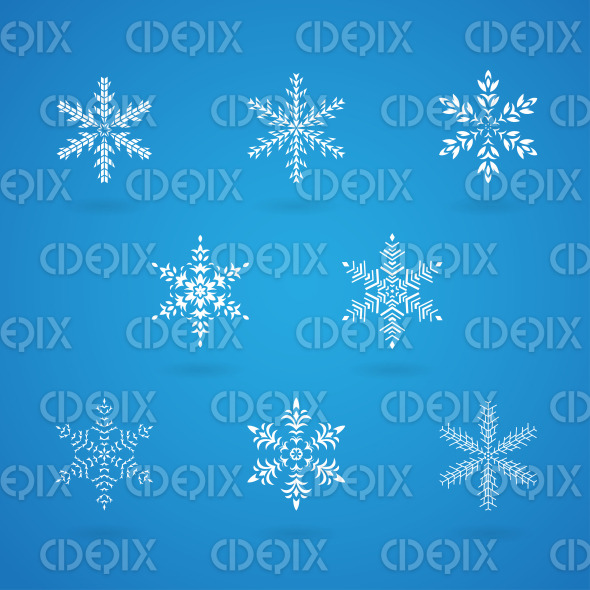 White Snowflakes on a Blue Background stock illustration