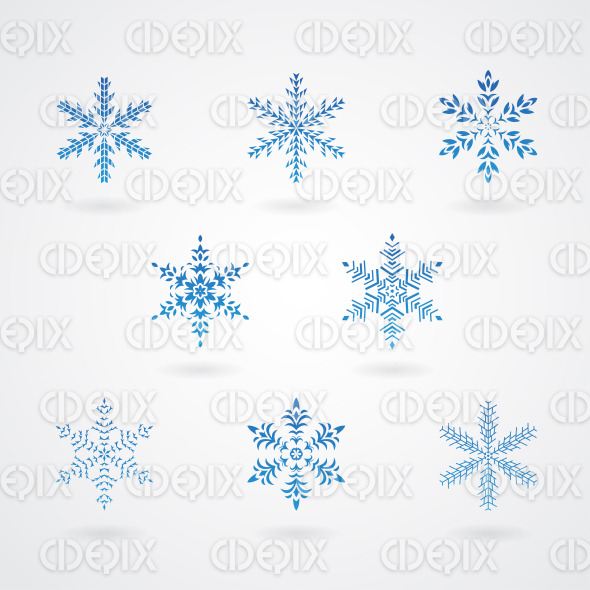 Blue Snowflakes on a White Background stock illustration