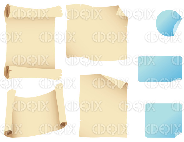 beige paper scrolls and blue stickers stock illustration