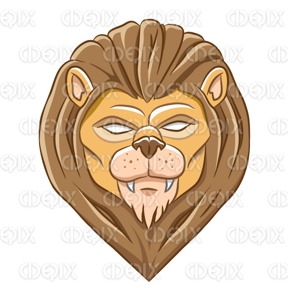 Scary Lion Head with Natural Outlines stock illustration