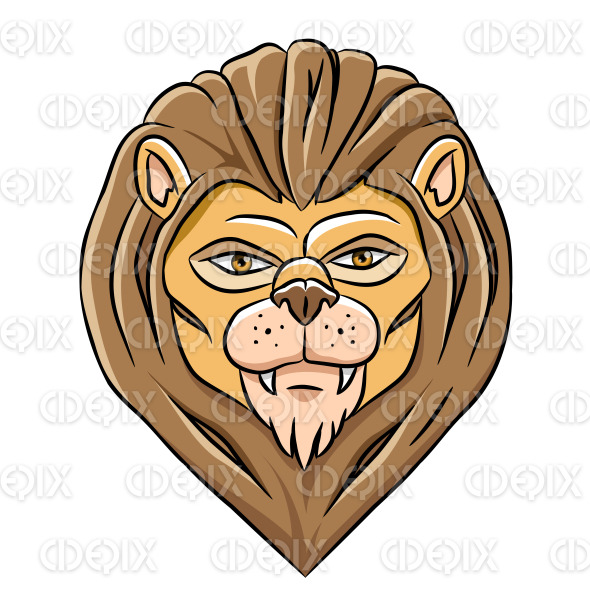 Cartoon Lion Head with Black Outlines stock illustration