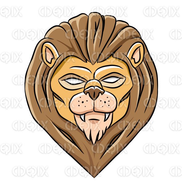 Scary Eyed Lion Head with Black Outlines stock illustration