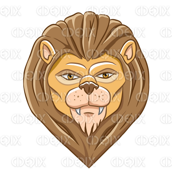 Cartoon Lion Head with Natural Outlines stock illustration