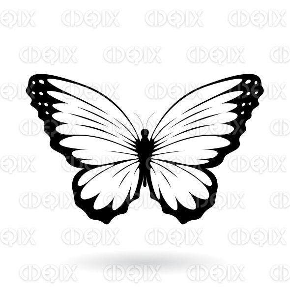 Black Butterfly with Wide Wings stock illustration