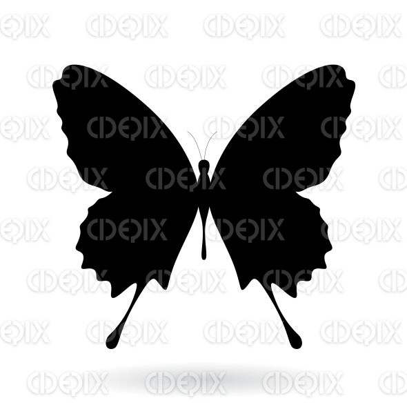 Black Butterfly Silhouette with Classic Wings stock illustration