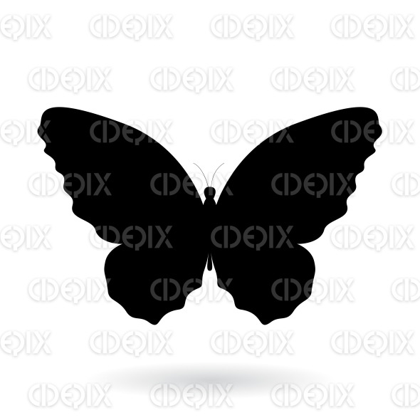 Black Butterfly Silhouette with Wide Wings stock illustration