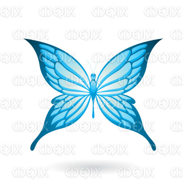 Shiny Blue Butterfly with Fairy Wings stock illustration