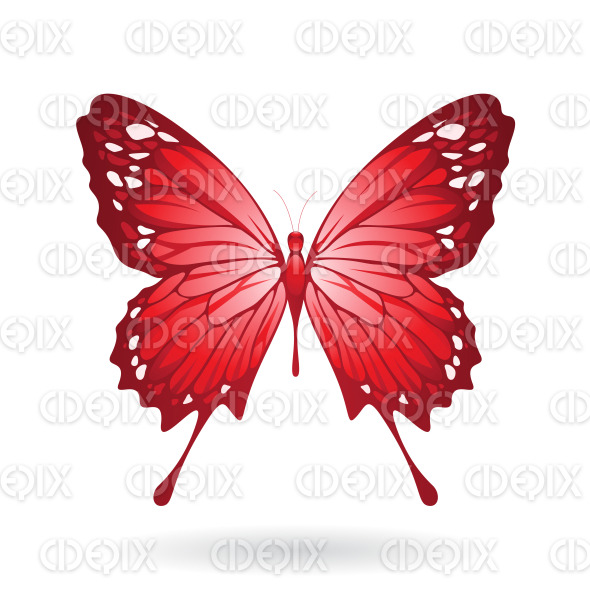 Red Butterfly with Classic Wings stock illustration