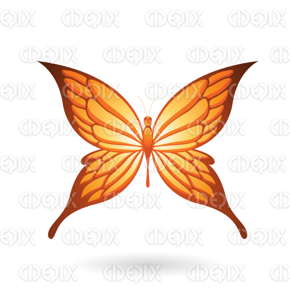 Shiny Orange Butterfly with Fairy Wings stock illustration