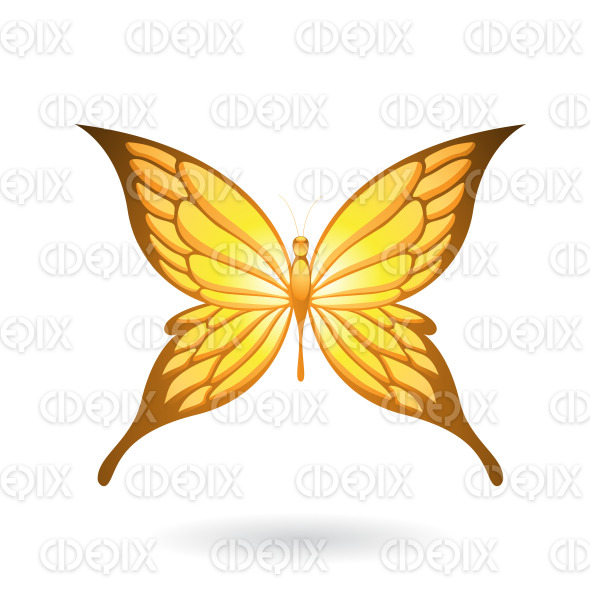 Shiny Yellow Butterfly with Fairy Wings stock illustration