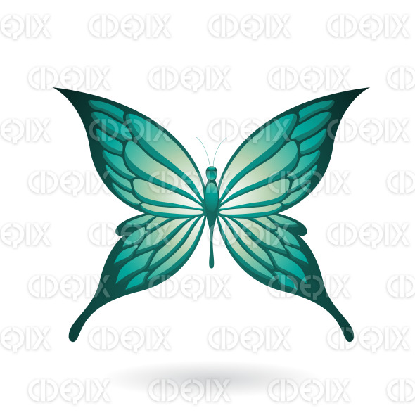 Shiny Persian Green Butterfly with Fairy Wings stock illustration