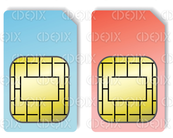 blue and pink sim cards stock illustration