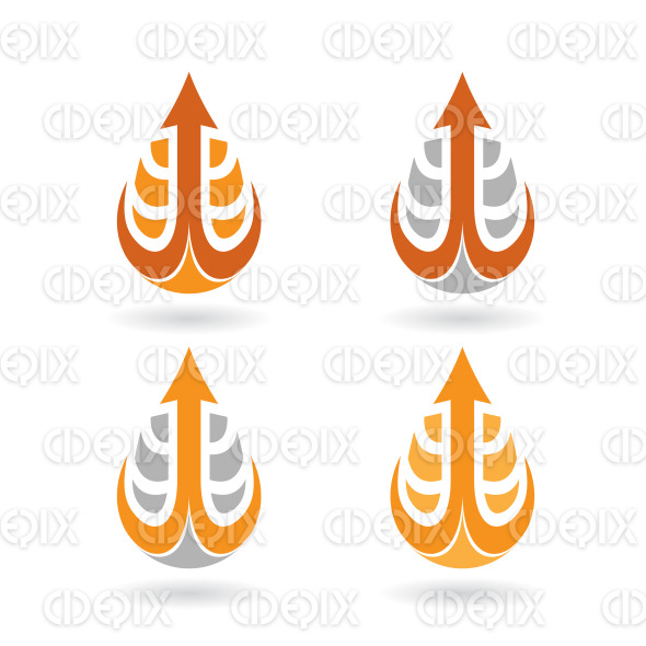 Arrow Shaped Orange Water Drop and Earrings stock illustration