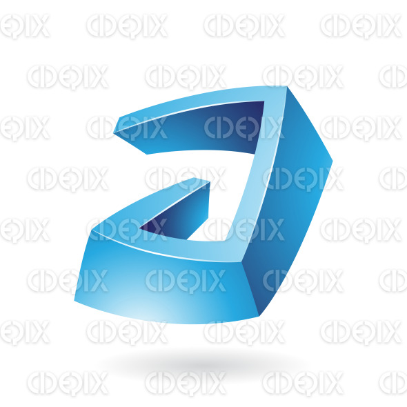 Blue Glossy 3d Abstract Symbol of Letter A stock illustration