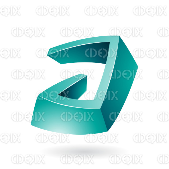 Persian Green Glossy 3d Abstract Symbol of Letter A stock illustration