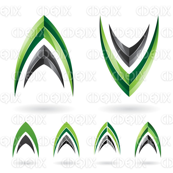 Green and Black Fishbone Shaped Letter A and V stock illustration