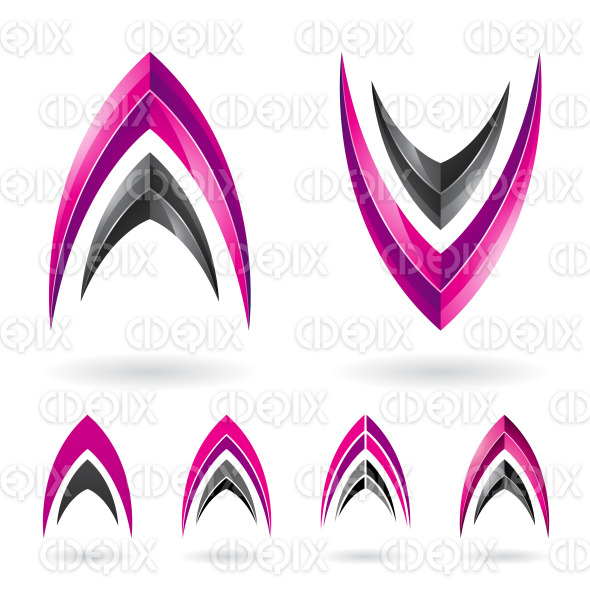 Magenta and Black Fishbone Shaped Letter A and V stock illustration