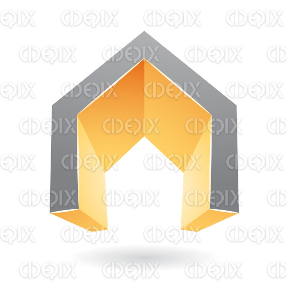 Orange and Black 3d Gate Shaped Symbol of Letter A stock illustration