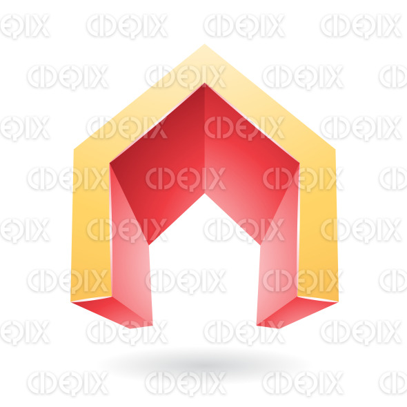 Orange and Red 3d Gate Shaped Symbol of Letter A stock illustration