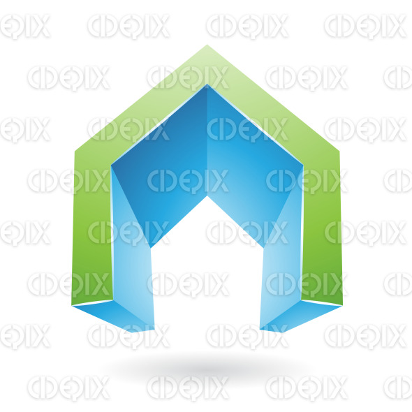 Green and Blue 3d Gate Shaped Symbol of Letter A stock illustration