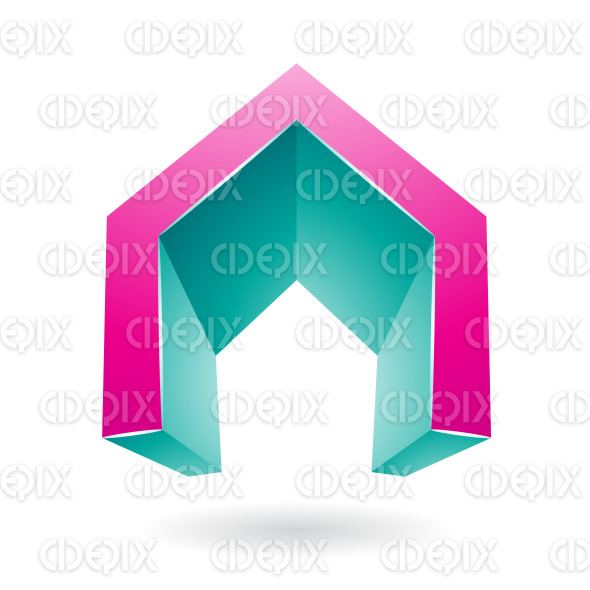 Magenta and Persian Green 3d Gate Shaped Symbol of Letter A stock illustration