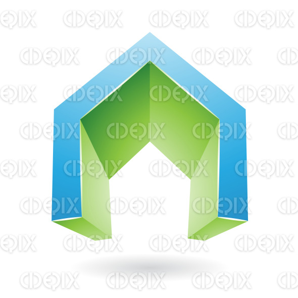 Blue and Green 3d Gate Shaped Symbol of Letter A stock illustration
