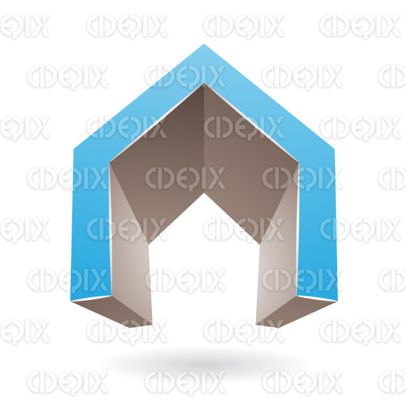 Blue and Brown 3d Gate Shaped Symbol of Letter A stock illustration