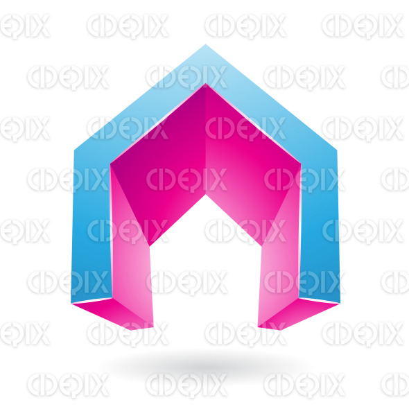 Blue and Magenta 3d Gate Shaped Symbol of Letter A stock illustration