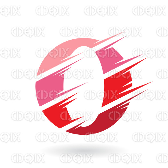Striped Letter O Or Zero Symbol In Shades Of Red Cidepix