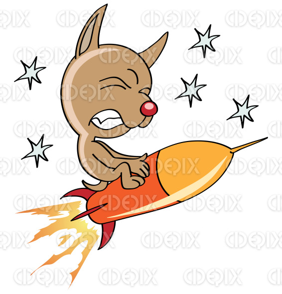 space dog flying on a rocket stock illustration