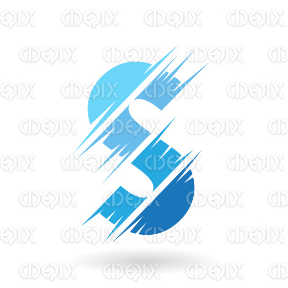 Abstract Striped Symbol of Letter S in Shades of Blue stock illustration
