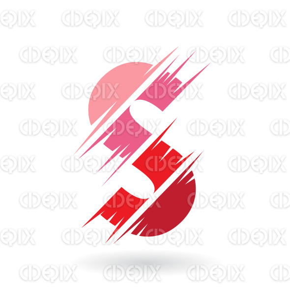 Abstract Striped Symbol of Letter S in Shades of Red stock illustration