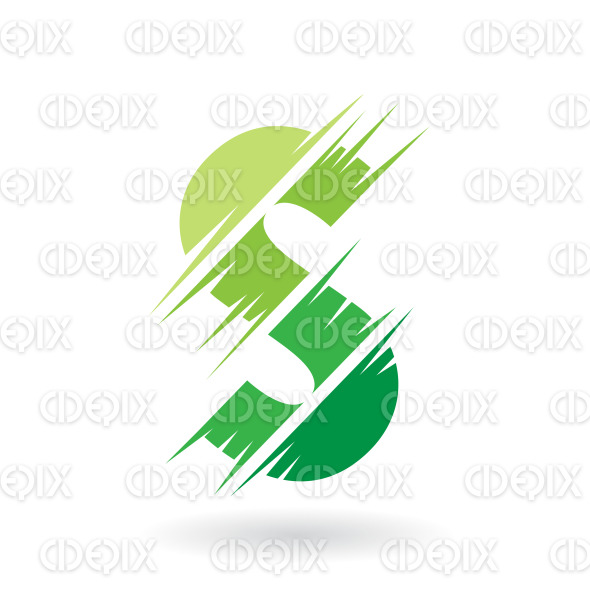 Abstract Striped Symbol of Letter S in Shades of Green stock illustration