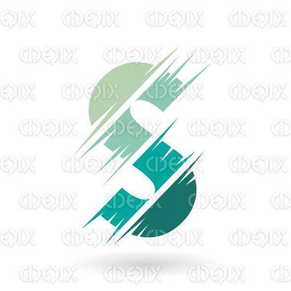 Abstract Striped Symbol of Letter S in Shades of Persian Green stock illustration