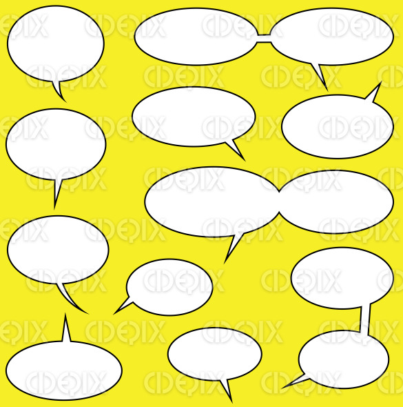 white blank speech bubbles on yellow background stock illustration