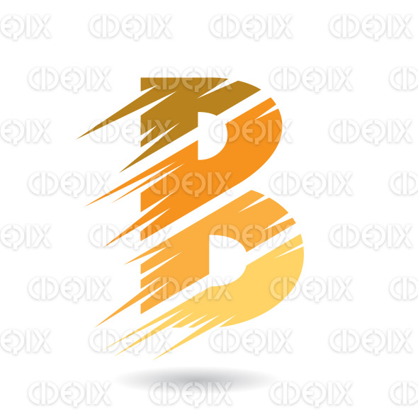 Abstract Striped Symbol of Letter B in different Shades of Orange stock illustration