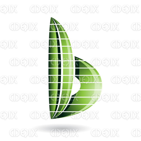 Green Skyscraper Shaped Abstract Symbol of Letter B stock illustration