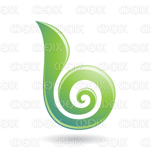 Spiral Candy like Abstract Green Symbol of Letter B stock illustration