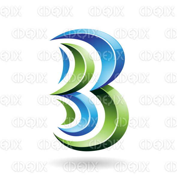 Blue and Green Sharp Glossy Symbol of Letter B or Number 3 stock illustration