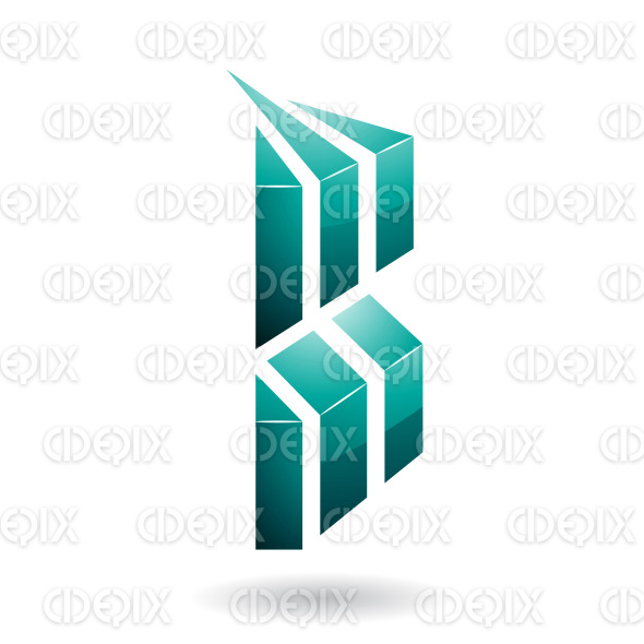 Persian Green, Rectangular, Glossy and Striped Symbol of Letter B stock illustration