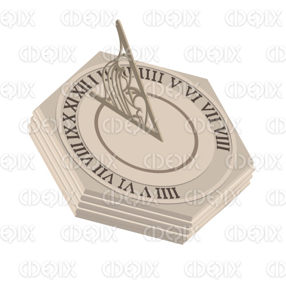 ancient clocks, beige stone sundial stock illustration