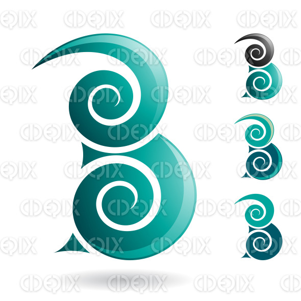 Persian Green Swirly Abstract Symbol of Letter B stock illustration