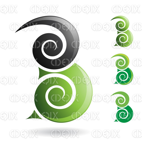 Green and Black Swirly Abstract Symbol of Letter B stock illustration